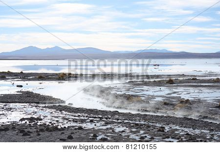 Geothermal hot water lake in Andes