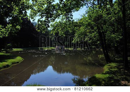 pond in a castle