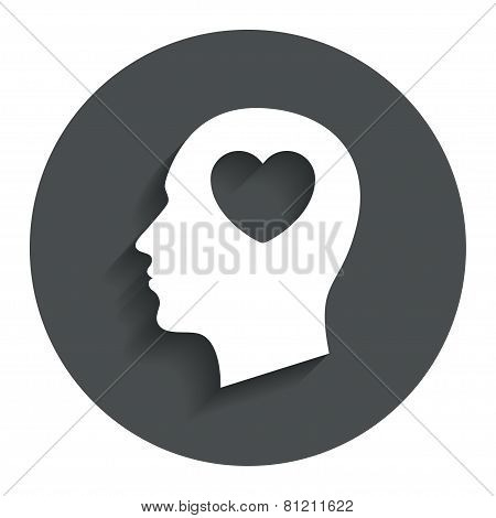 Head with heart sign icon. Male human head.