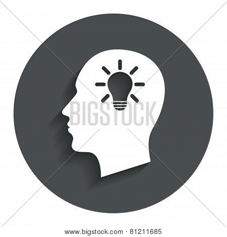 Head with lamp bulb sign icon. Male human head.