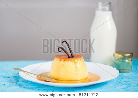 Creme Caramel with Vanilla Beans On Top