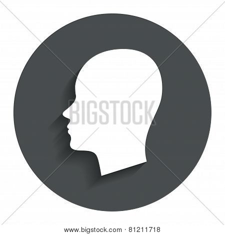 Head sign icon. Female woman human head.