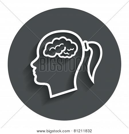 Head with brain sign icon. Female woman head