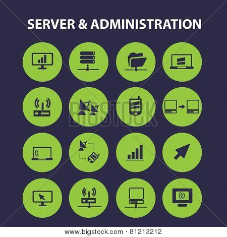 server, administration, communication, connection, link, computer, interface icons, signs, illustrations set, vector