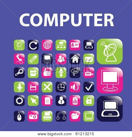 computer, notebook, sattelite, media, glossy buttons, icons, signs, illustrations set, vector