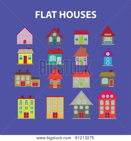 flat houses, buildings, city, village icons, signs, illustrations set, vector