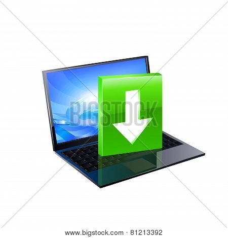 Laptop with download button.