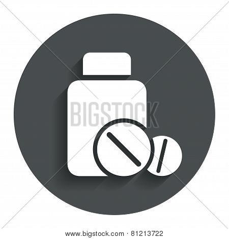 Medical tablets bottle sign icon. Drugs symbol.