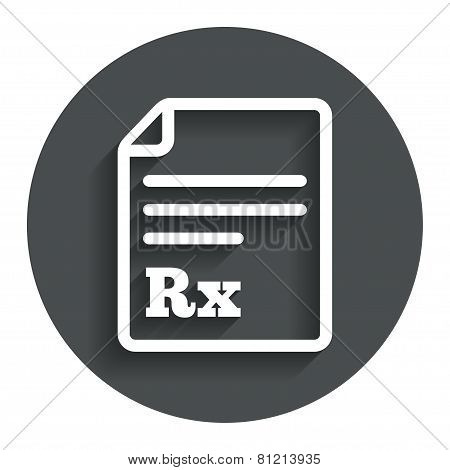 Medical prescription Rx sign icon. Pharmacy.