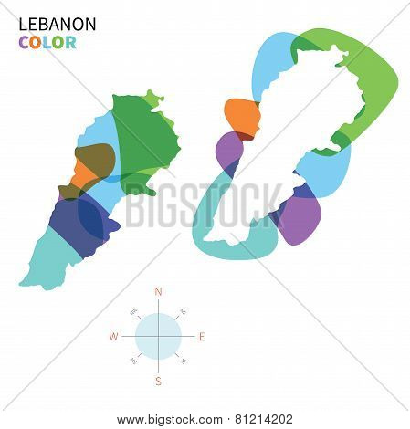 Abstract vector color map of Lebanon with transparent paint effect.