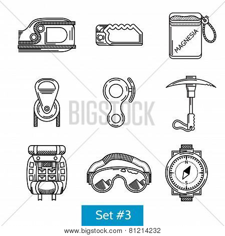 Black vector icons for rock climbing equipment