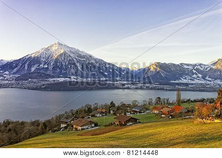 Swiss Rural Landscape Near Thun Lake At Morning Sunshine
