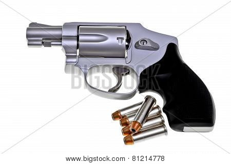 Modern Titanium Revolver With .38 Cartridges