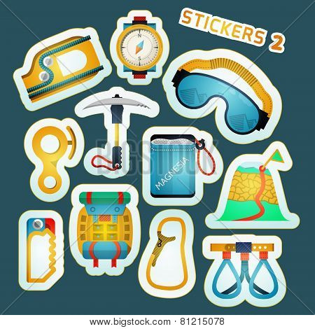 Colored vector stickers for rock climbing