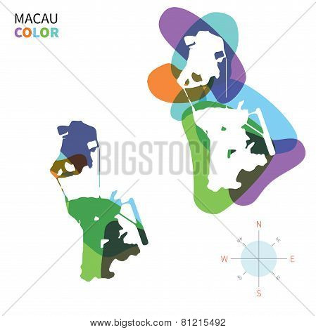 Abstract vector color map of Macau with transparent paint effect.