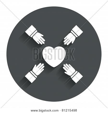 Hands reach for heart sign icon. Save life.
