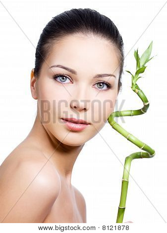 Face Of Woman With Plant