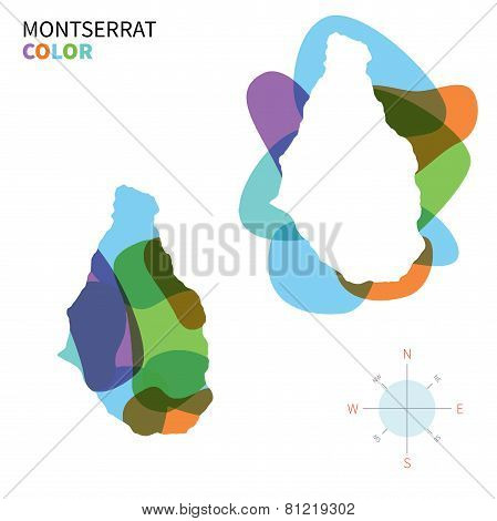 Abstract vector color map of Montserrat with transparent paint effect.