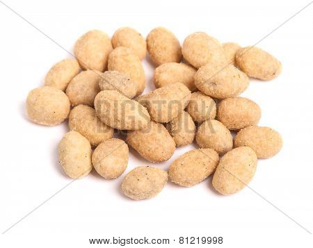 Coated peanuts isolated on white background