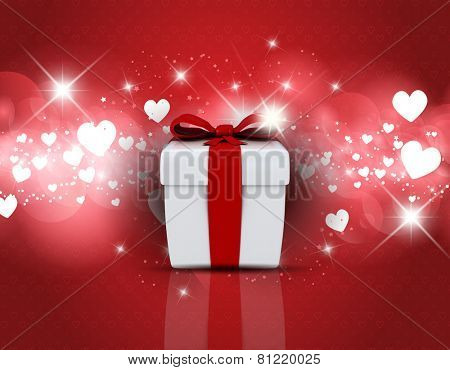 Valentine's Day background with gift box on hearts design