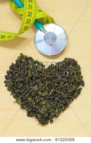 Green Tea Leaves Heart Shaped And Stethoscope
