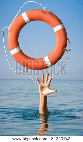 Lifebuoy for man in danger. Rescue situation concept