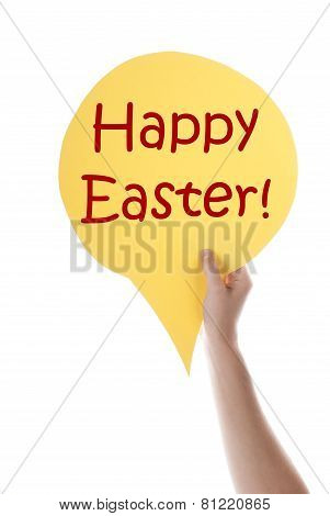 Yellow Speech Balloon With Happy Easter