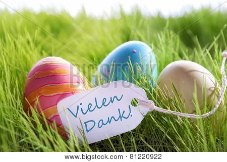 Happy Easter Background With Colorful Eggs And Label With German Text Vilene Dank
