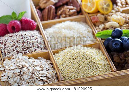 Breakfast items in wooden box