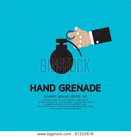 Hand Holding A Grenade.