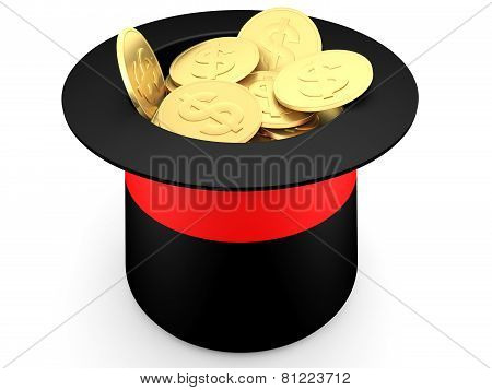 Gold Dollar Coins Inside A Magician's Hat
