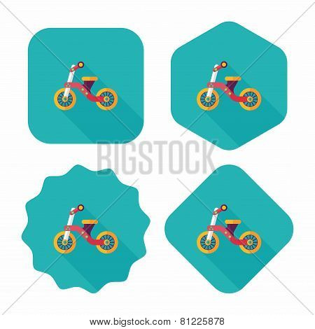 Kids Tricycle Flat Icon With Long Shadow,eps10