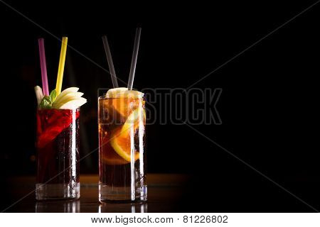 Cherry Bomb And Cuba Libre Cocktails In A Tall Glasses