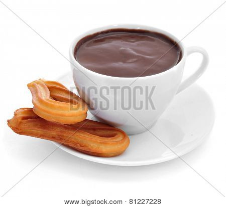 churros con chocolate, a typical Spanish sweet snack, on a white background
