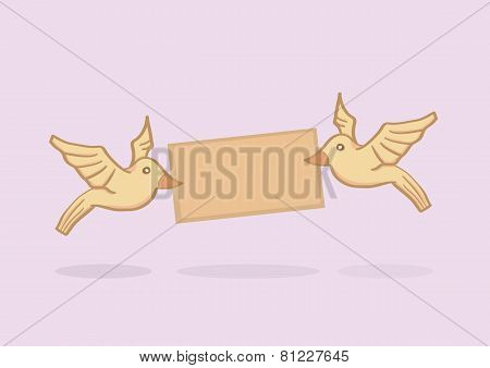 Love Birds Delivering A Message Vector Cartoon