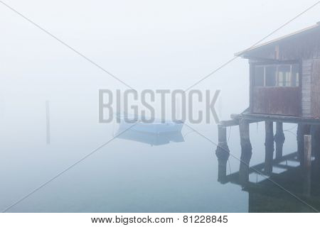 Typical Italian countryside of the po delta with fog
