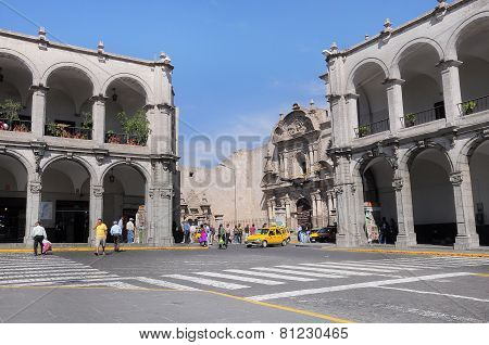 Part of the Plaza de Armas in Arequipa, Peru.
