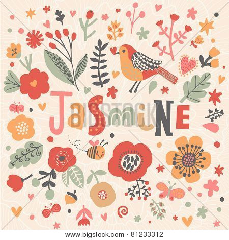 Bright card with beautiful name Jasmine in poppy flowers, bees and butterflies. Awesome female name design in bright colors. Tremendous vector background for fabulous designs