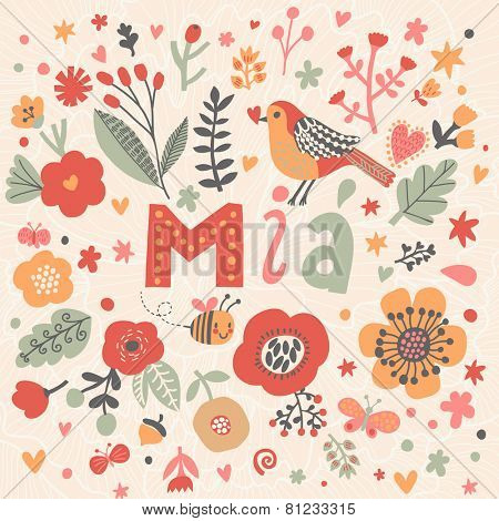 Bright card with beautiful name Mia in poppy flowers, bees and butterflies. Awesome female name design in bright colors. Tremendous vector background for fabulous designs