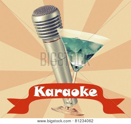 Silver microphone and cocktail on color retro background, Karaoke concept