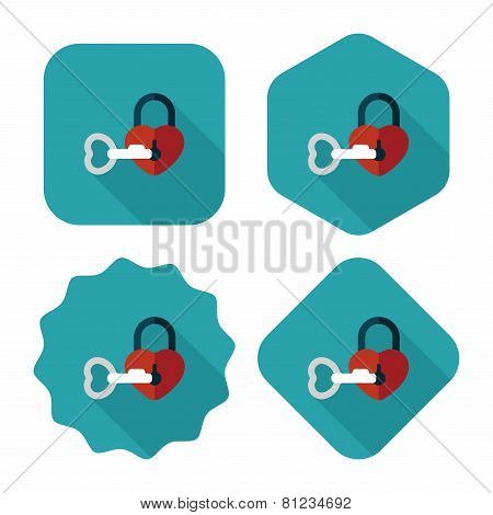 Valentine's Day Lover Lock Flat Icon With Long Shadow,eps10