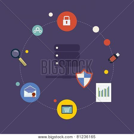Set of modern flat design icons on the topic of online security, data protection and data safety.