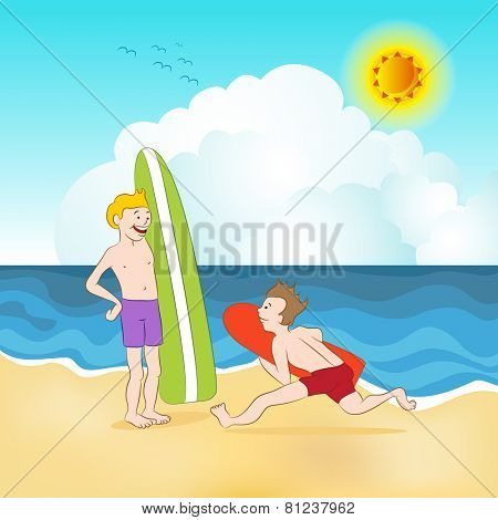 An image of surfers at the beach.