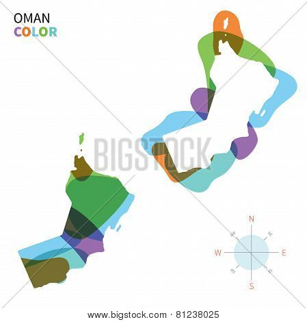 Abstract vector color map of Oman with transparent paint effect.