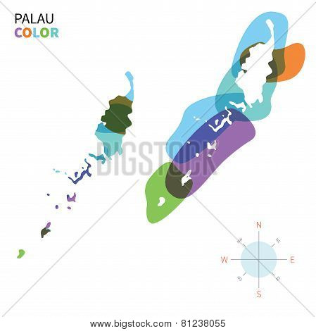 Abstract vector color map of Palau with transparent paint effect.