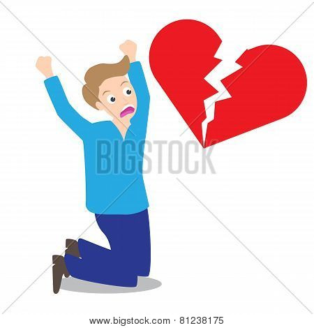 Sad Man With Broken Heart Shape Background In Concept Of Being Broken Heart