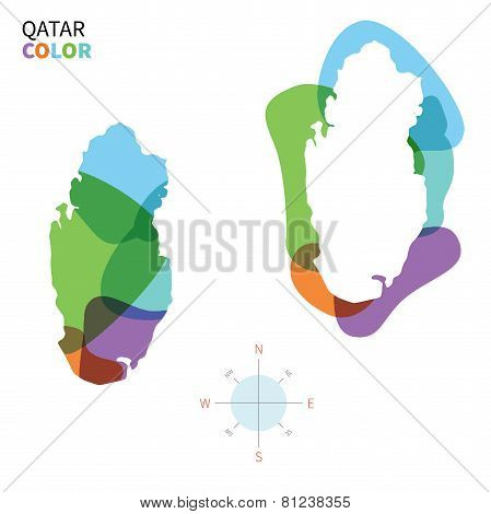 Abstract vector color map of Qatar with transparent paint effect.