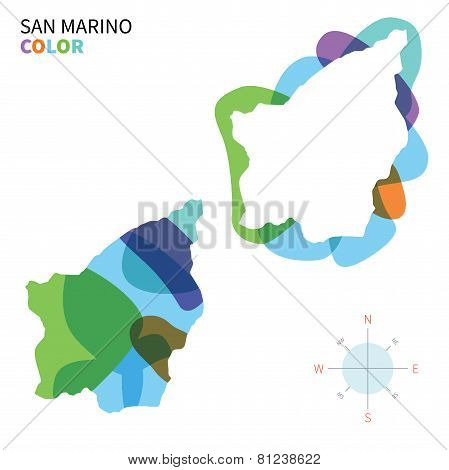 Abstract vector color map of San Marino with transparent paint effect.