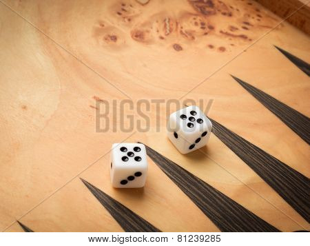Color detail of a Backgammon game with two dice