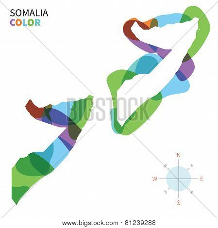 Abstract vector color map of Somalia with transparent paint effect.